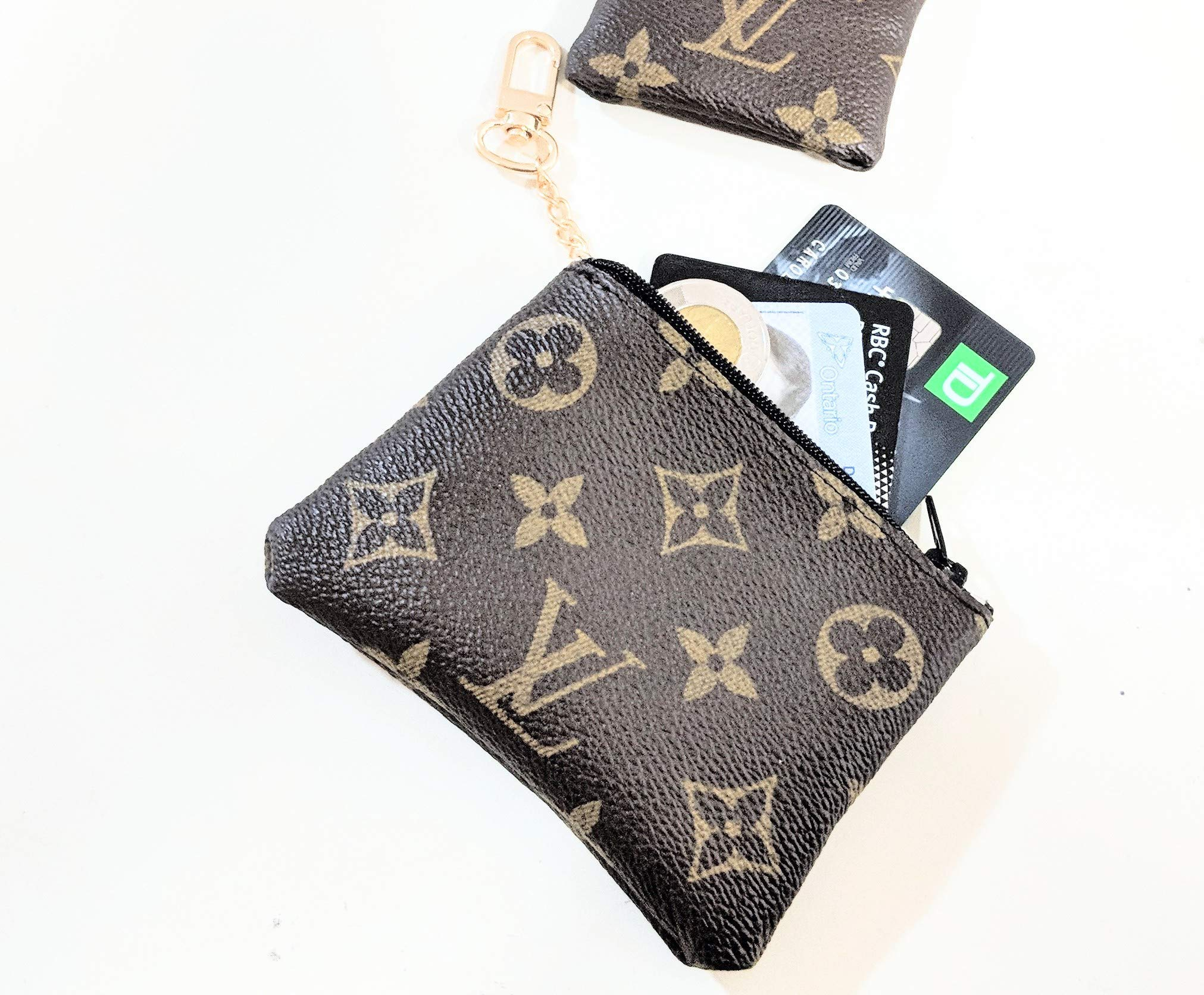Handcrafted upcycled and repurposed into coin purse from old authentic LV bag canvas-please read item description before you make your purchase