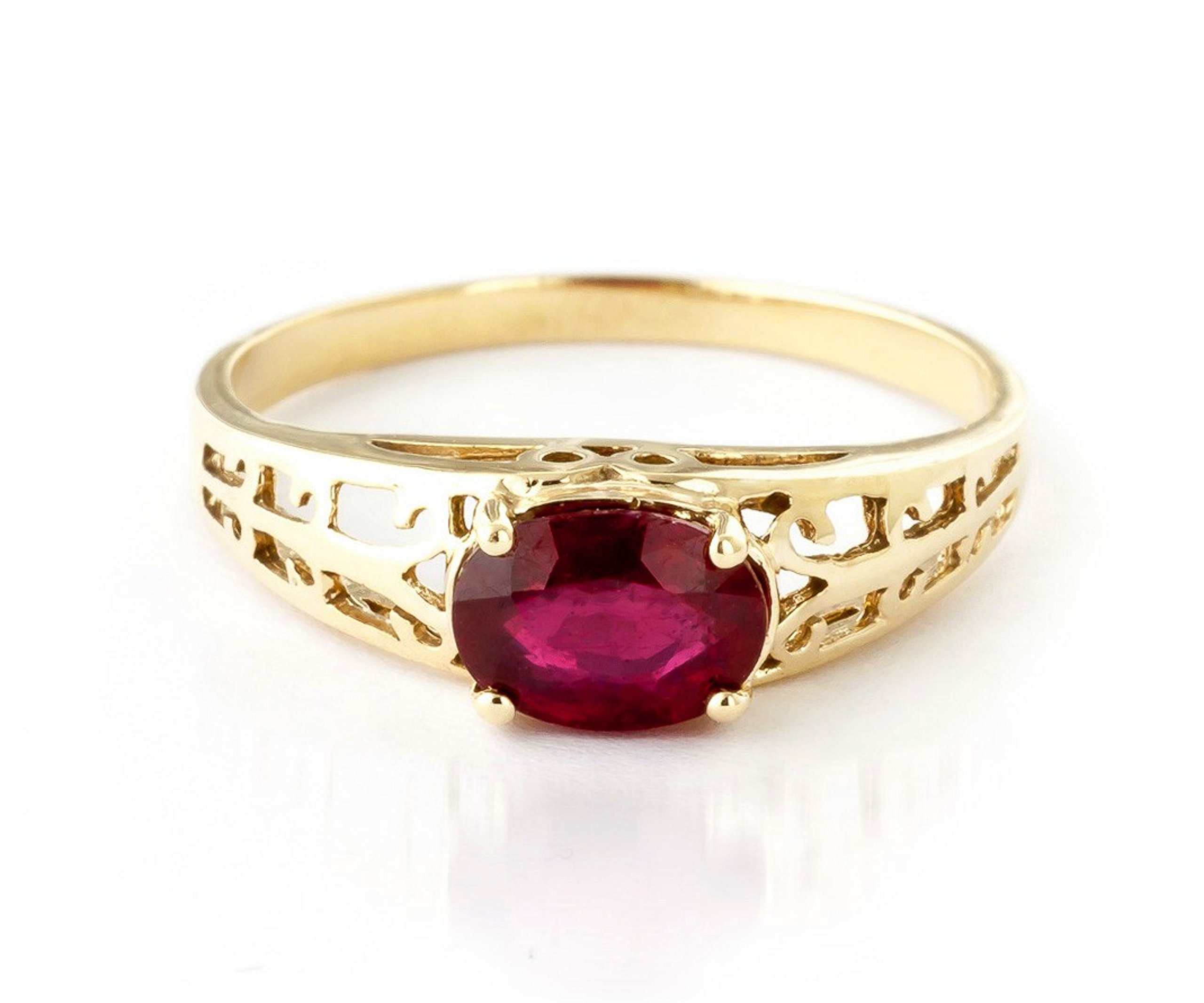 1.15 ct 14K Solid White Rose Yellow Gold Filigree Solitaire Ring with Natural Ruby 2330 (Yellow-Gold, 5.5)