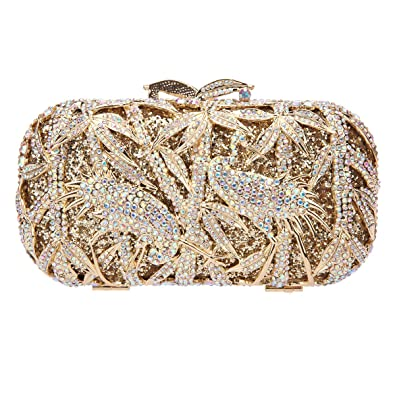 d9ce377e7db Fawziya Bamboo Crane Pattern Crystal Clutch Purse Rhinestone Clutch Evening  Bag AB Gold