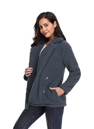kefirlily Mujer Abrigo de Invierno Otoño Abrigos de Piel de Fleece Abrigo Esponjoso Cálido Chaquetas