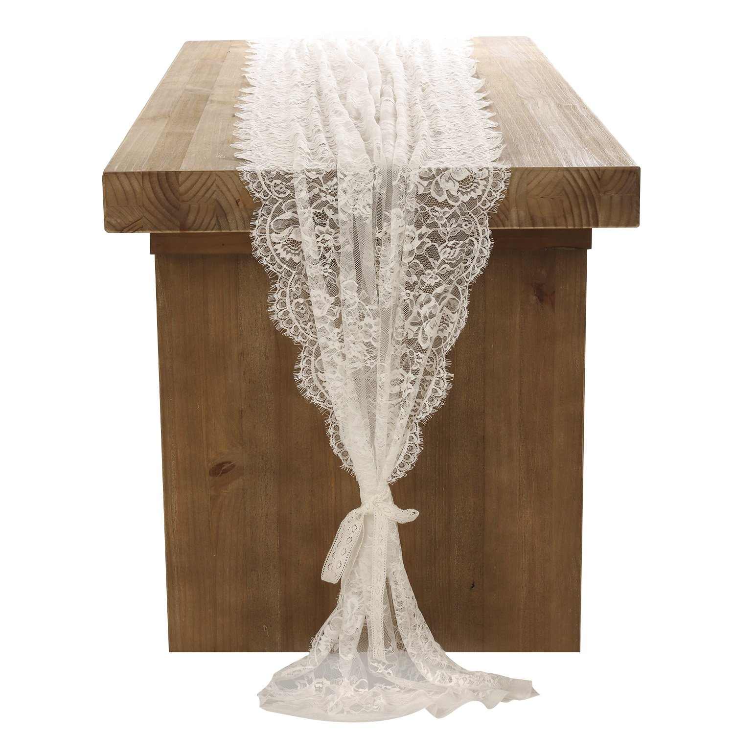 Floral bridal shower table decorations amazon lings moment 32x120 inches white lace table runneroverlay rustic chic wedding reception table decor junglespirit Gallery