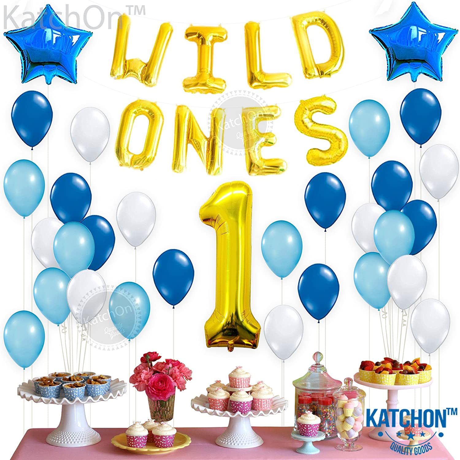 Amazon.com: WILD ONES BIRTHDAY DECORATION KIT - Blue and White ...