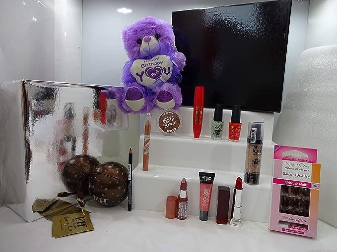 Set de regalo de lujo para ella, maquillaje y oso de peluche en caja de regalo, mezcla marcas de artículos de maquillaje, regalo envuelto listo para regalar **Edición limitada** Oferta especial. 062.: