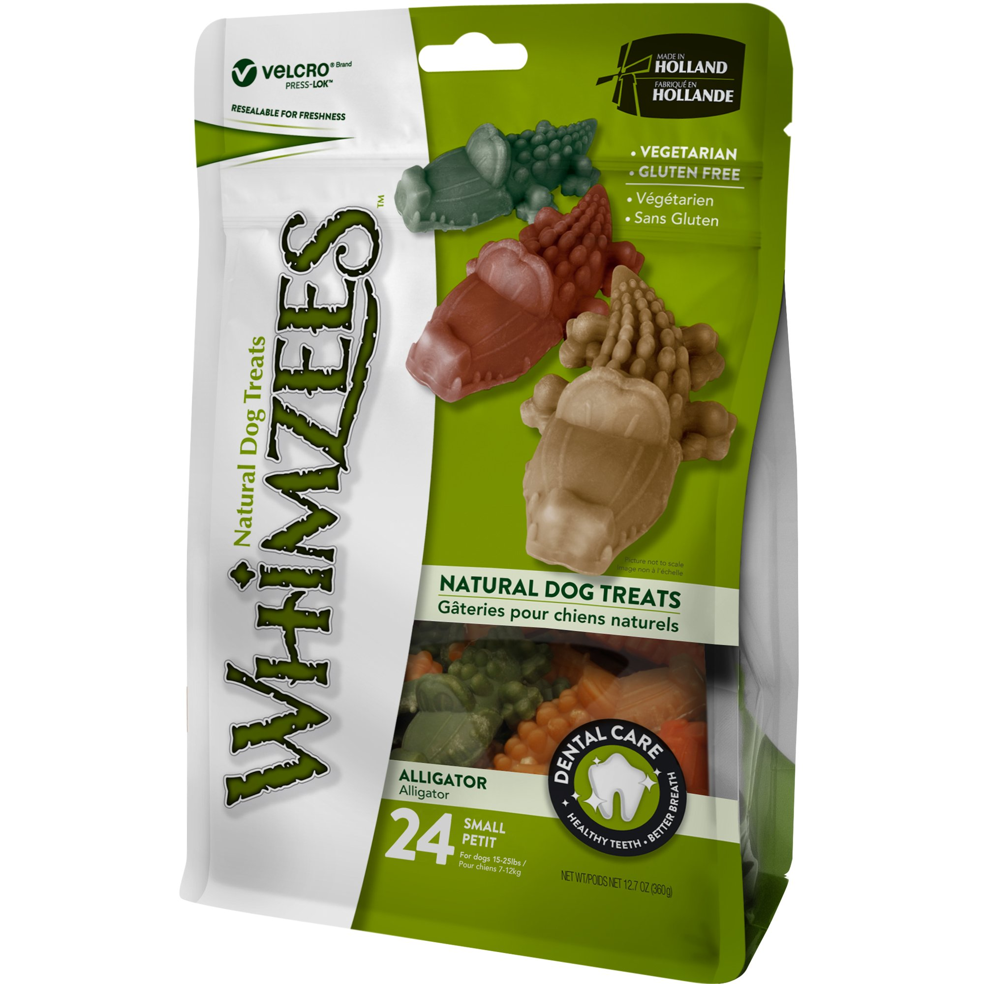 Whimzees Natural Grain Free Dental Dog Treats, Small Alligator, Bag 24