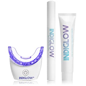 IntelliWHiTE Indiglow Teeth Whitening Light System- Purple LED Light At Home Whitening Kit, Major Results in 20 Minutes, Zero Sensitivity, Non-Toxic, Made in USA