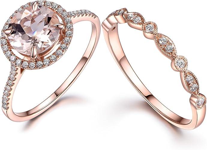 Amazon Com Myraygem Wedding Ring Sets 2pcs Morganite Bridal Set
