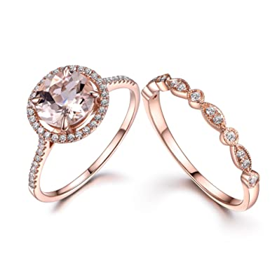 Rose Gold Wedding Ring.Amazon Com Myraygem Wedding Ring Sets 2pcs Morganite Bridal Set