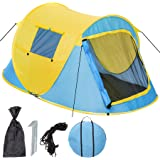 TecTake Wurfzelt Pop-up Zelt Automatikzelt für bis zu 2 Personen 1500mm Wassersäule + Tasche, Seile, Heringe - diverse Farben -