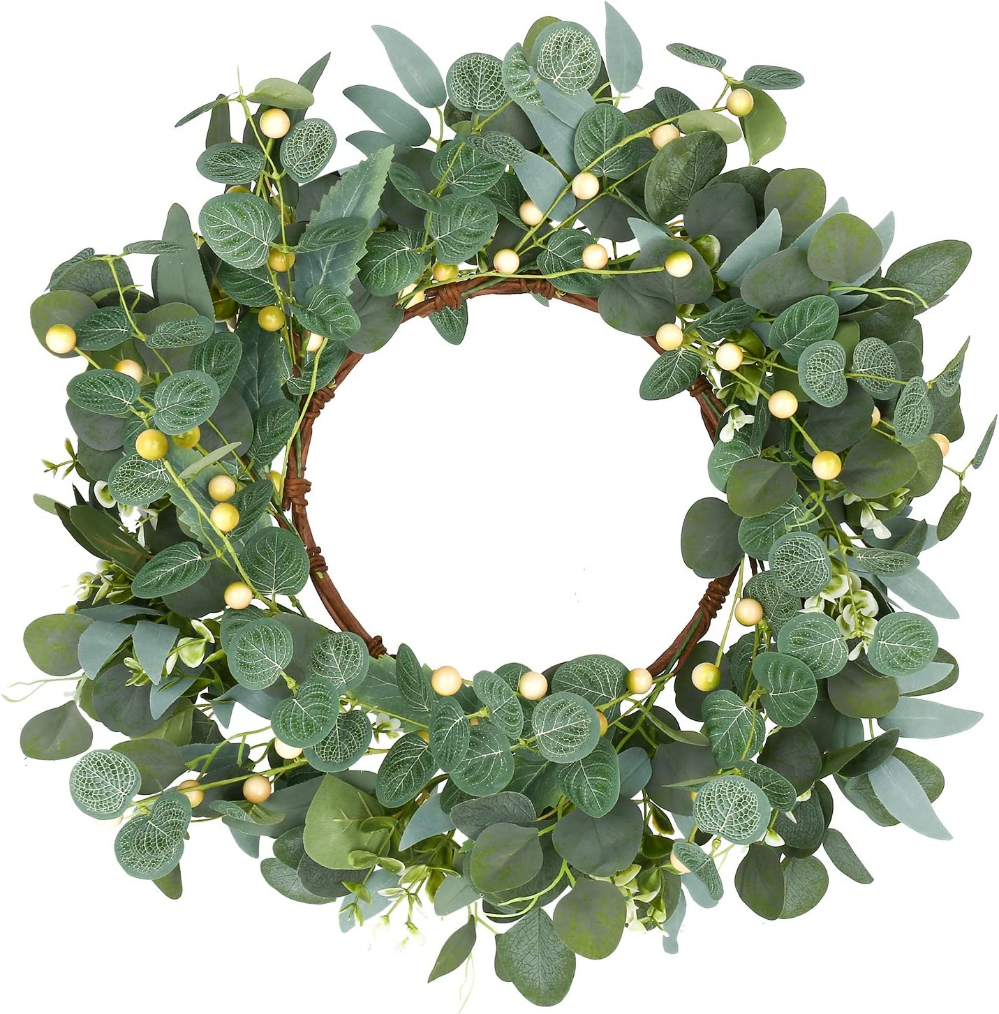 Eucalyptus Wreath,Artificial Green Eucalyptus Leaves Wreath With Light Green Berries, Spring and Summer Greenery Wreath for Front Door Wall Window Decor,Suitable for All Seasons and Festivals-20inches