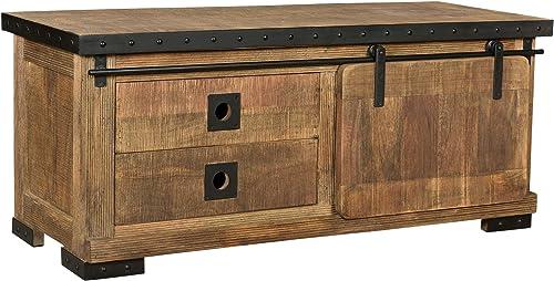 Christopher Knight Home Mavis Modern Industrial Mango Wood TV Stand, Natural Finish, Black