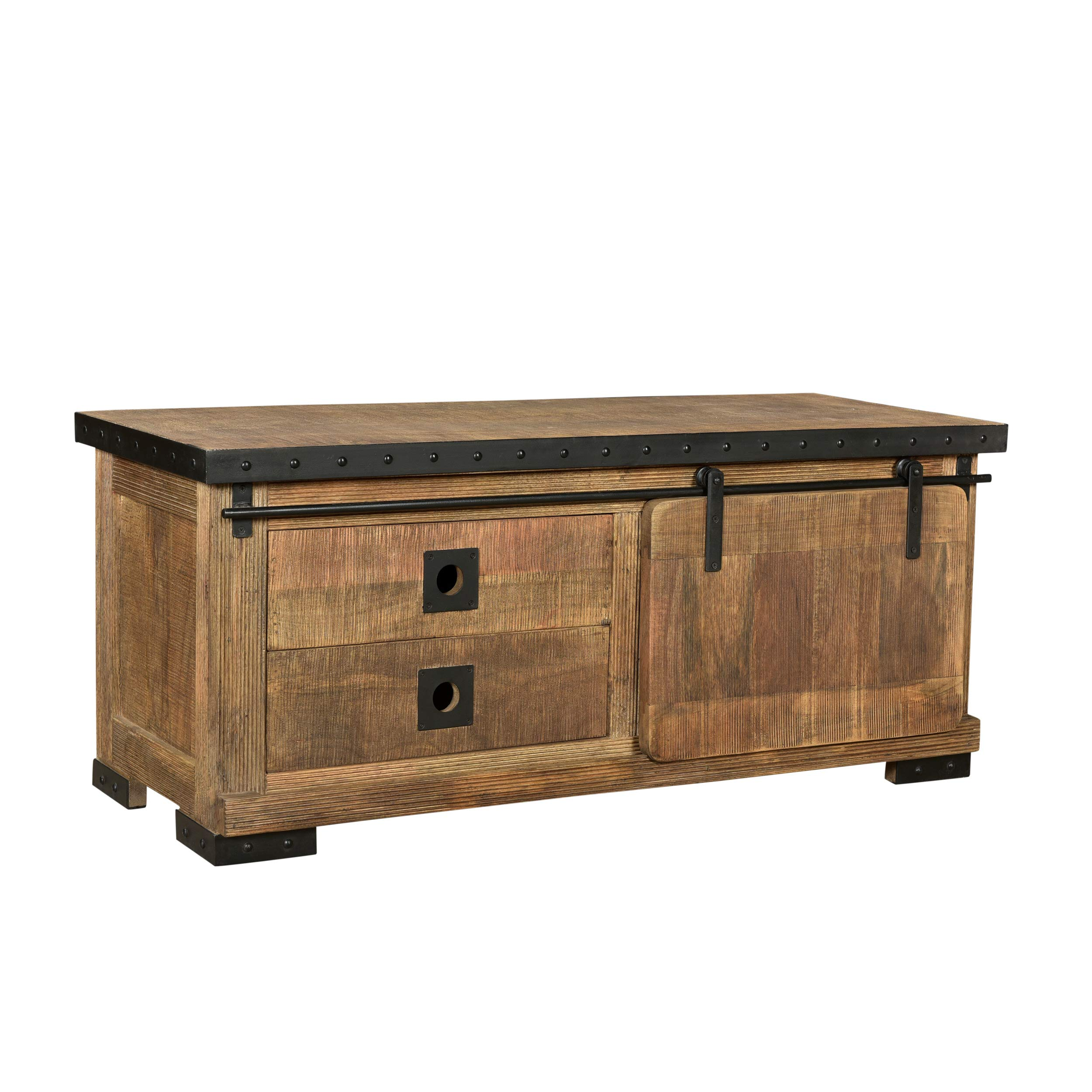 Christopher Knight Home Mavis Modern Industrial Mango Wood TV Stand, Natural Finish, Black by Christopher Knight Home