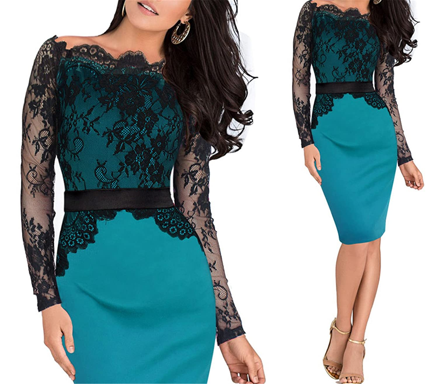 Green Elegant Pinup Vintage Retro Lace Off Shoulder Patchwork Belted Stretch colorblock Bodycon Party Fitted Dress 719