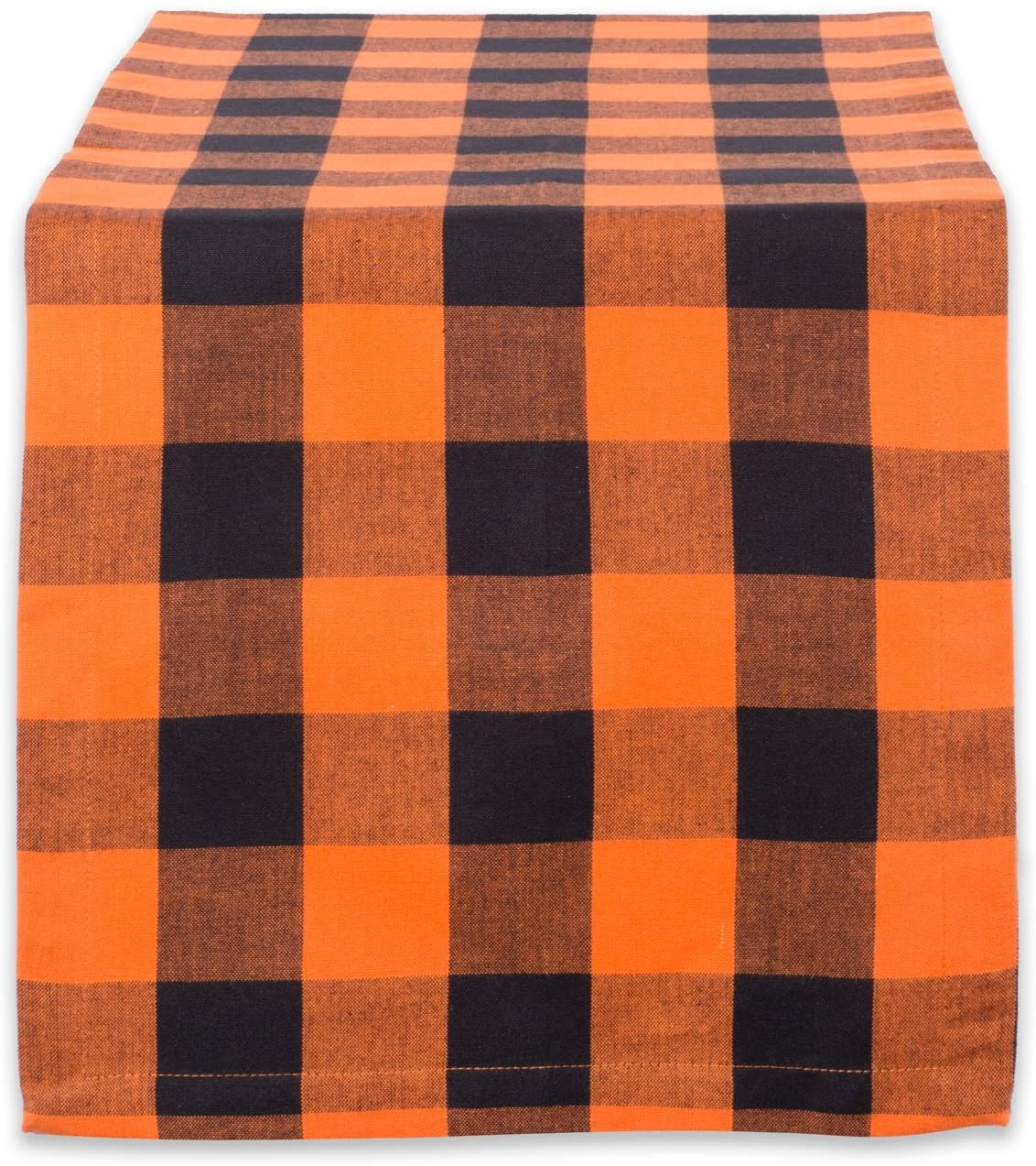 DII Classic Buffalo Check Tabletop Collection for Family Dinners, Special Occasions, Barbeques, Picnics and Everyday Use, 100% Cotton, Machine Washable, Table Runner, 14x108, Orange & Black