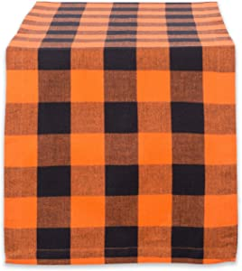 """DII Cotton Buffalo Check Table Runner for Family Dinners or Gatherings, Indoor or Outdoor Parties, Halloween, & Everyday Use (14x72"""",Seats 4-6 People), Orange & Black"""