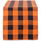 DII Cotton Buffalo Check Table Runner for Family Dinners or Gatherings, Indoor or Outdoor Parties, Everyday Use, 100% Cotton, Orange, 14x72 Table Runner