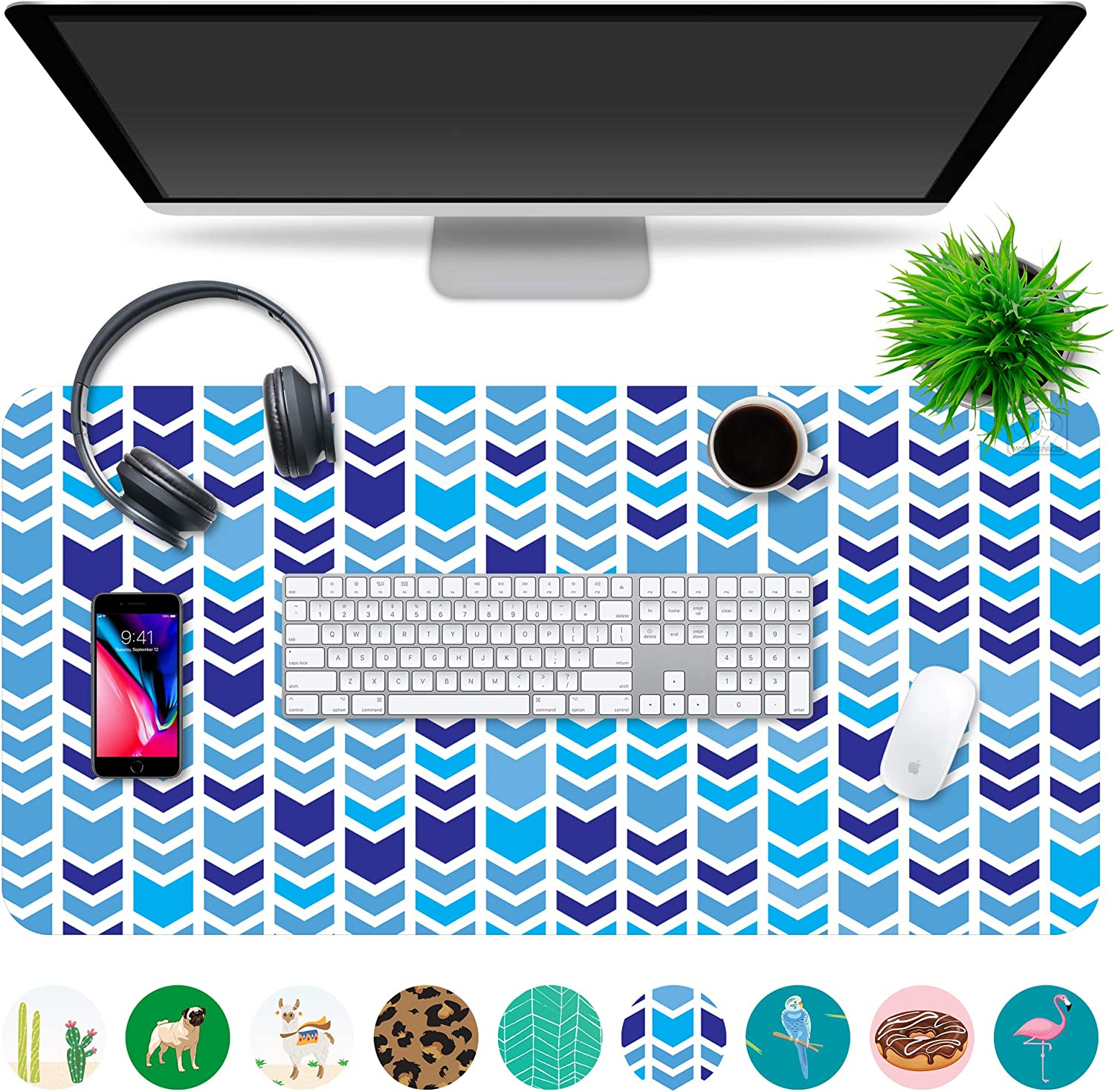 "Multipurpose Office Desk Pad and Computer Desk Mat - Waterproof Office Desk Mat and Desk Blotter Pad - Home Office Accessories (Large (35.5"" x 17.5""), Chevron)"