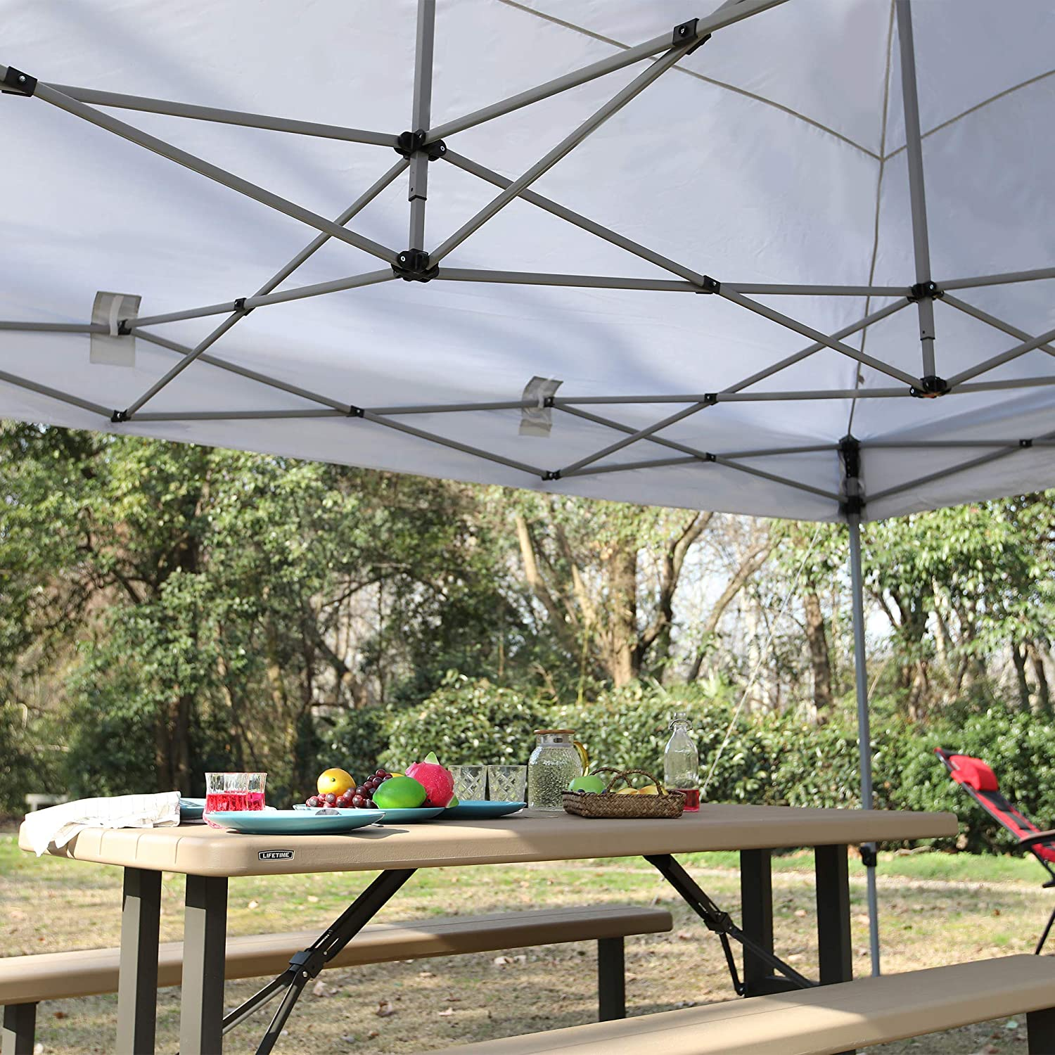 PHI VILLA 10 x 15 Straight Leg Pop-up Canopy for Backyard, Party, Event, 150 Sq. Ft of Shade, Instant Folding Canopy, White