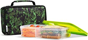 Fit & Fresh Insulated Bento Box Lunch Kit, Jungle Green