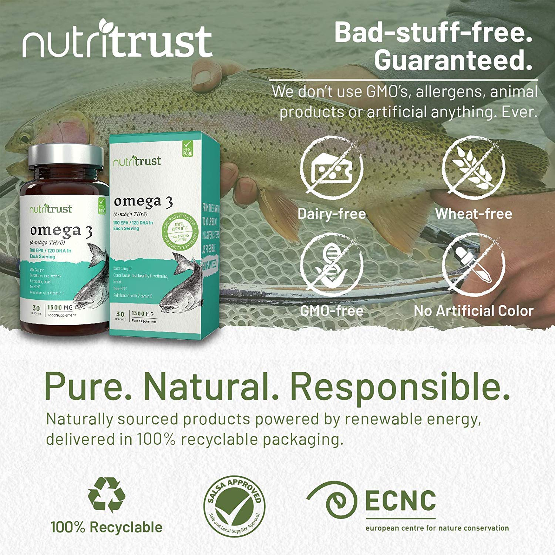 Cápsulas de gel Aceite de Pescado Omega 3 1300mg Nutritrust® - Reforzado con Vitamina E - Fuentes de Pescado Silvestres OGM - Contribuye a regular la ...
