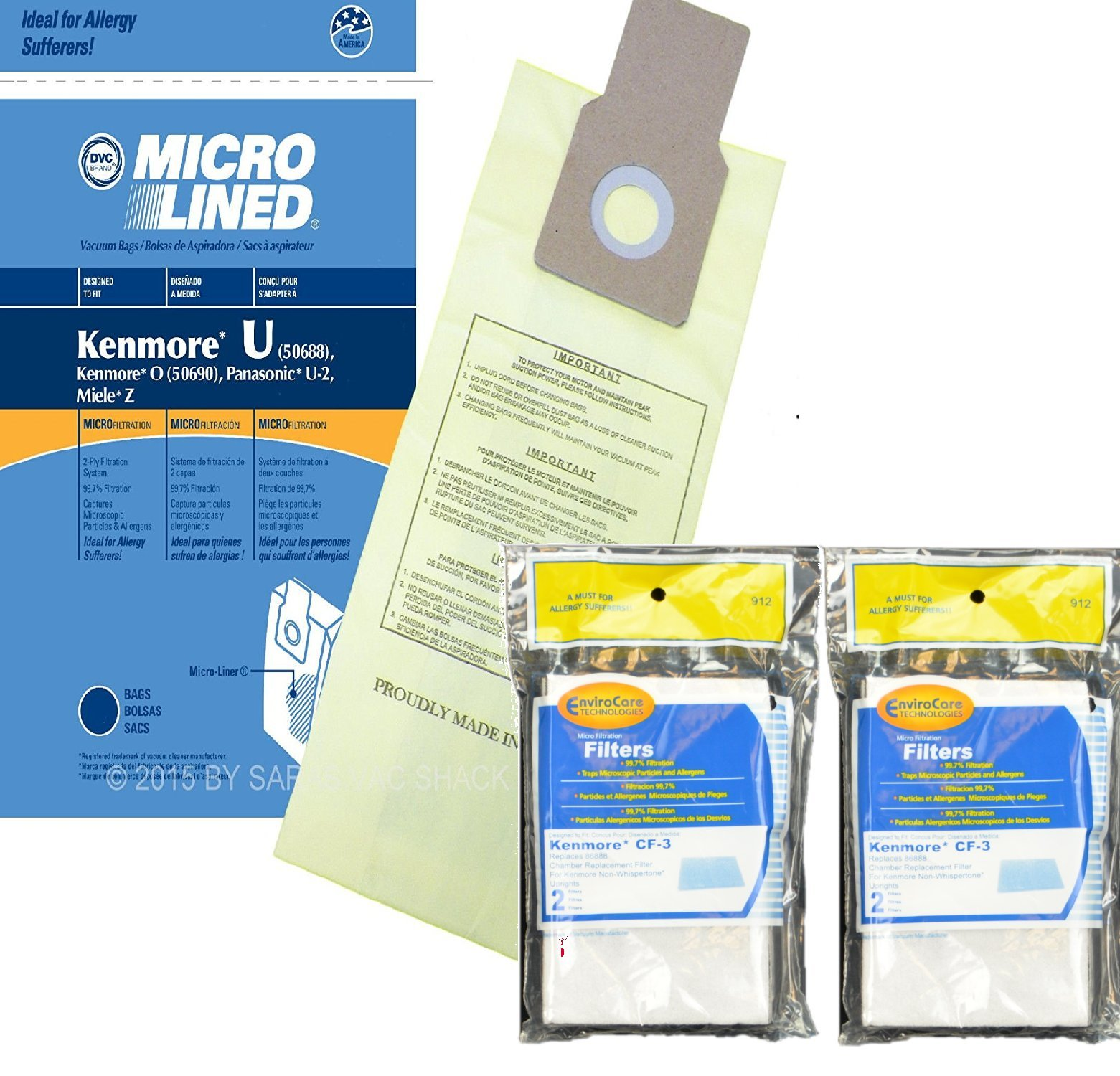 Kenmore 10 Type U Allergen Filtration Vacuum Bags Vacuums, 50105, 50688, 50690 Includes (2) CF-3 Motor Chamber Filters by Kenmore