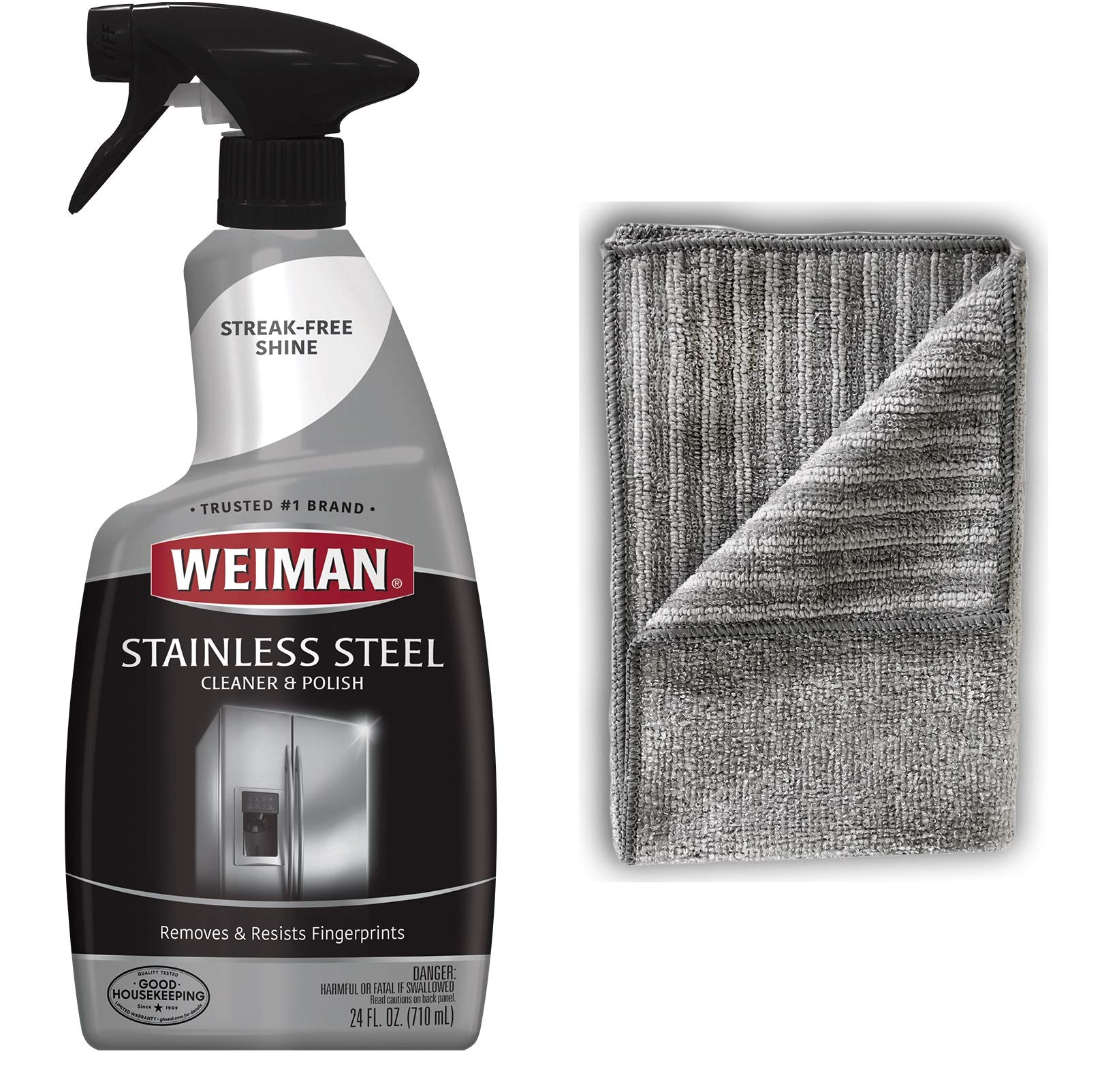 Weiman Stainless Steel Cleaner and Polish - 22 Ounces [Large Microfiber Cloth] - Appliance Surfaces Leave Behind A Brilliant Shine by Weiman