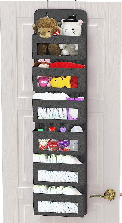 Simple Houseware Over Door/Wall Mount 6 Clear Window Pocket Organizer, Dark Gray