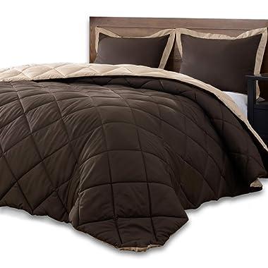 downluxe Lightweight Solid Comforter Set (Queen) with 2 Pillow Shams - 3-Piece Set - Brown and Tan - Down Alternative Reversible Comforter