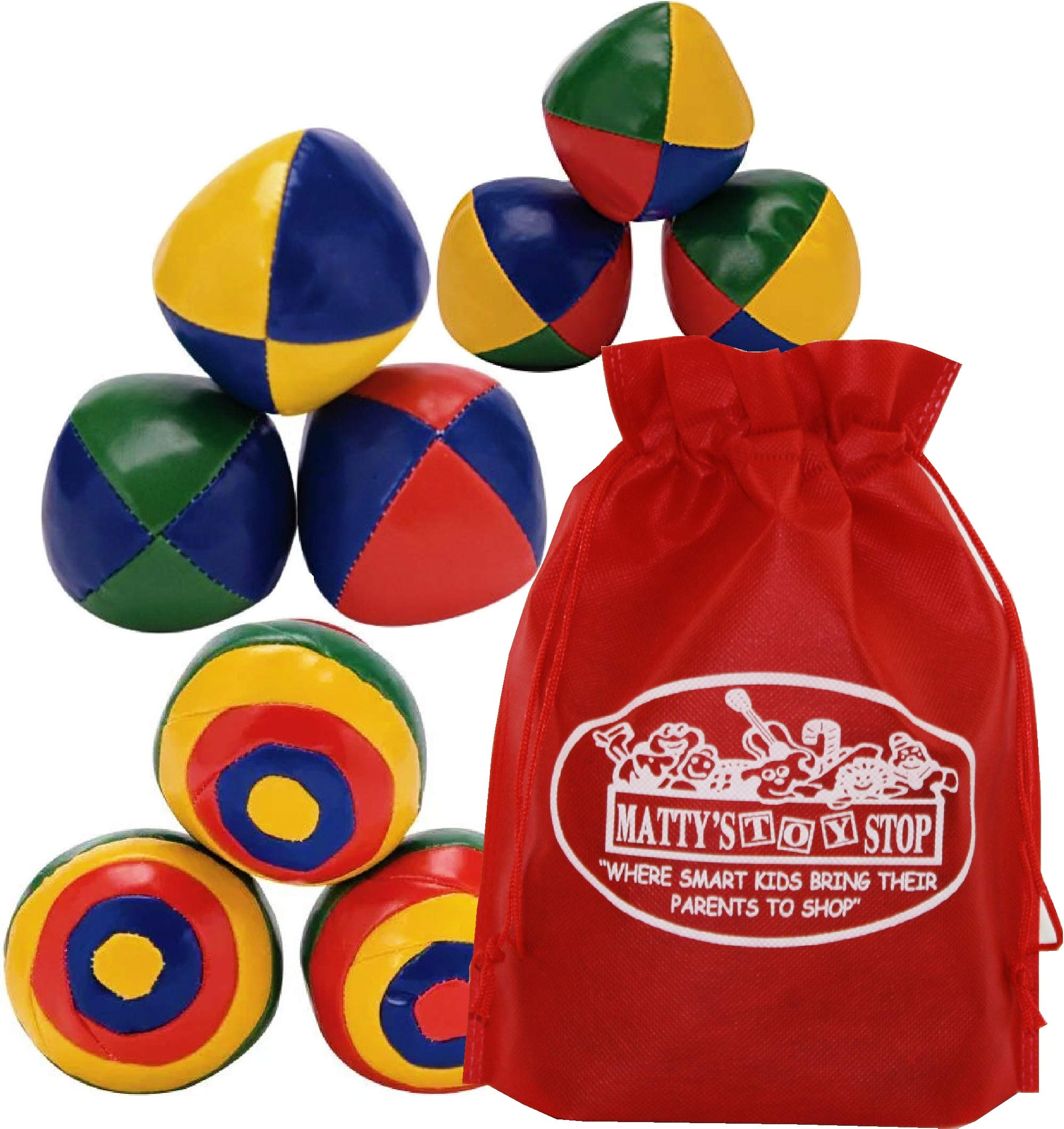Schylling Ultimate Juggling Set with Classic Juggling Balls, Striped Juggling Balls & Mini Juggling Balls Gift Set Bundle with Bonus Matty's Toy Stop Storage Bag - 3 Pack by Schylling