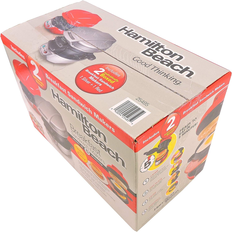 Hamilton Beach Breakfast Sandwich Makers Includes 2 box (1 Silver 1 Red) 25485
