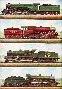 The Art Stop Transport Vintage Painting Train Engine LOCOMOTIVES STEAM Print F12X3701