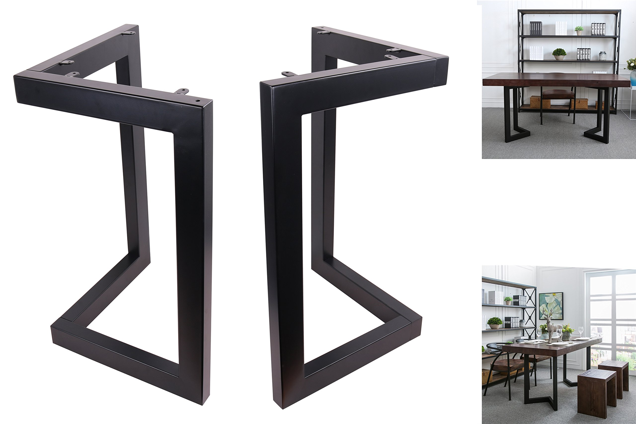 ECLV 28'' Dining Table Legs, L-shaped Steel table legs, Country Style Table Legs ,Office Table Legs,Computer Desk Legs,Industrial kitchen table legs,Set of 2,Black