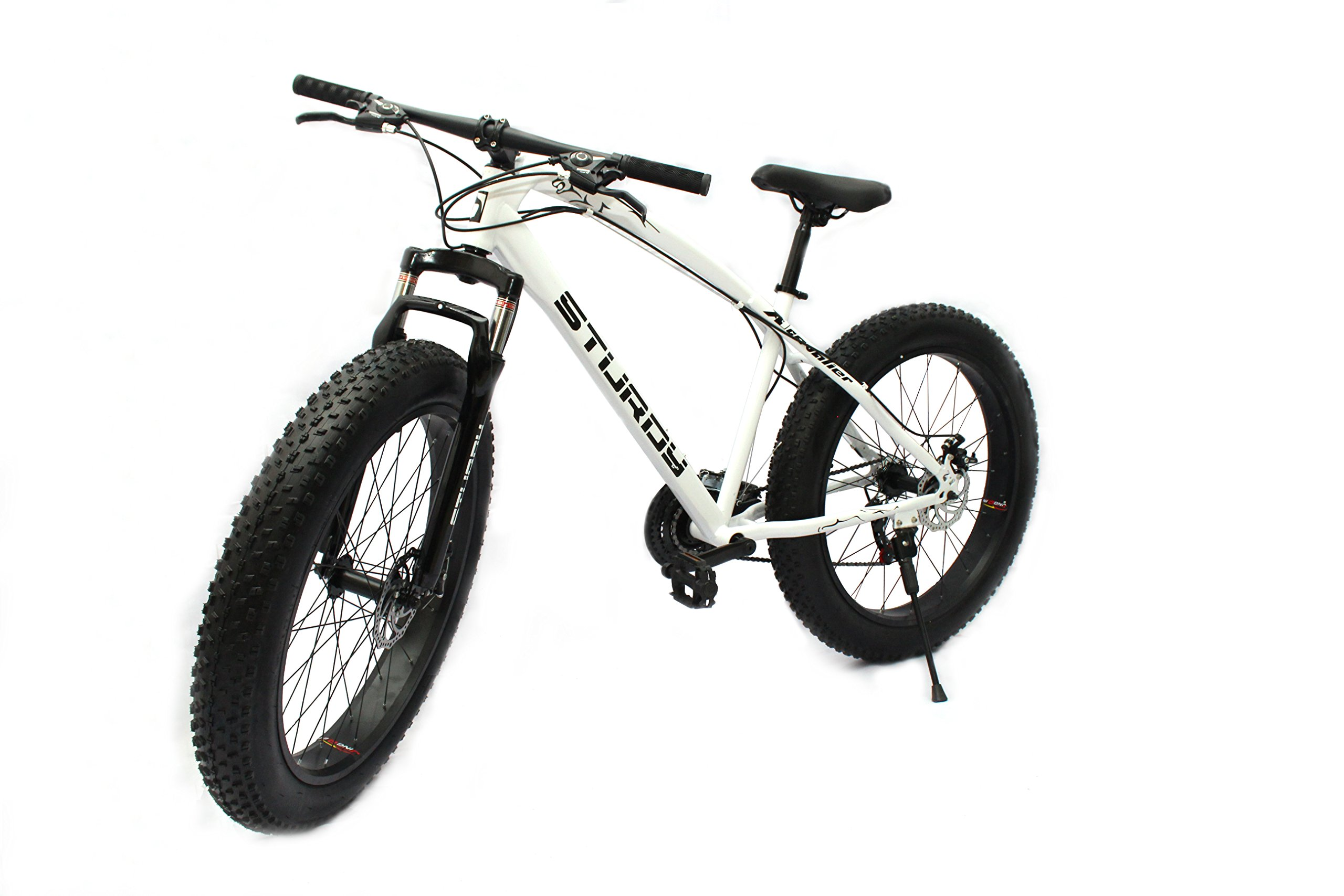 STURDY BIKES Mountain Carbon Steel Fat Bike with 26X4 inch Tyres (White) product image