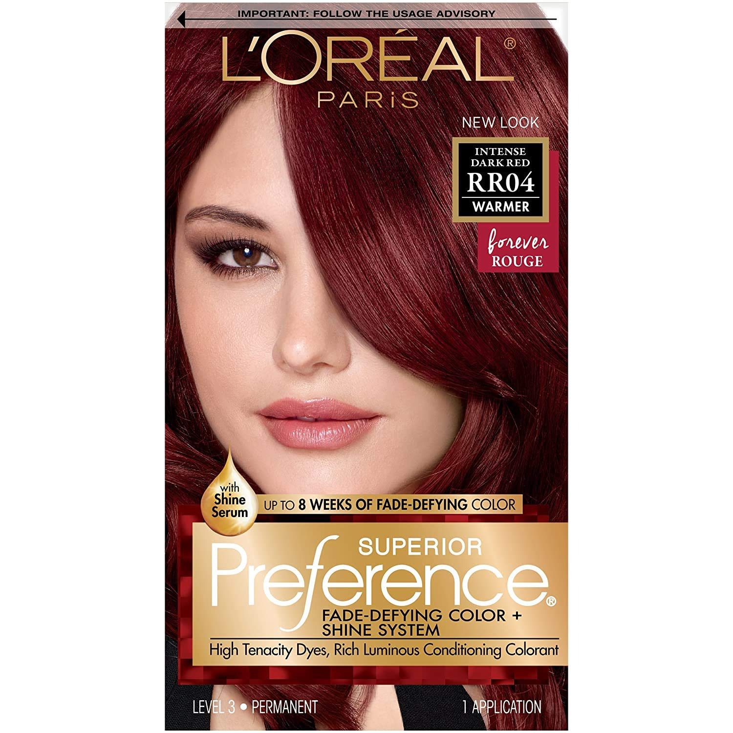 L'Oreal Paris Superior Preference Fade Defying + Shine Permanent Hair  Color, RR 9 Intense Dark Red, Pack of 9, Hair Dye