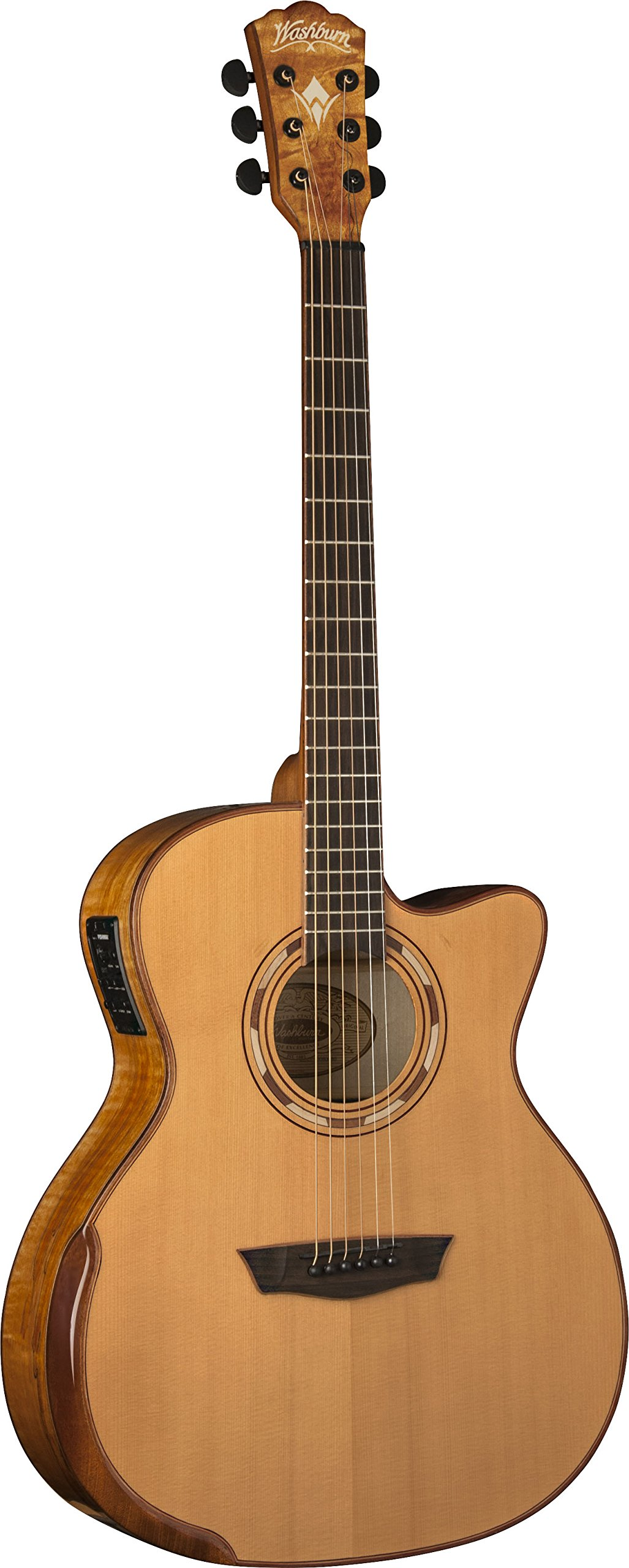 Washburn WCG66SCE Comfort Deluxe Series Acoustic-Electric Guitar, Natural Finish by Washburn