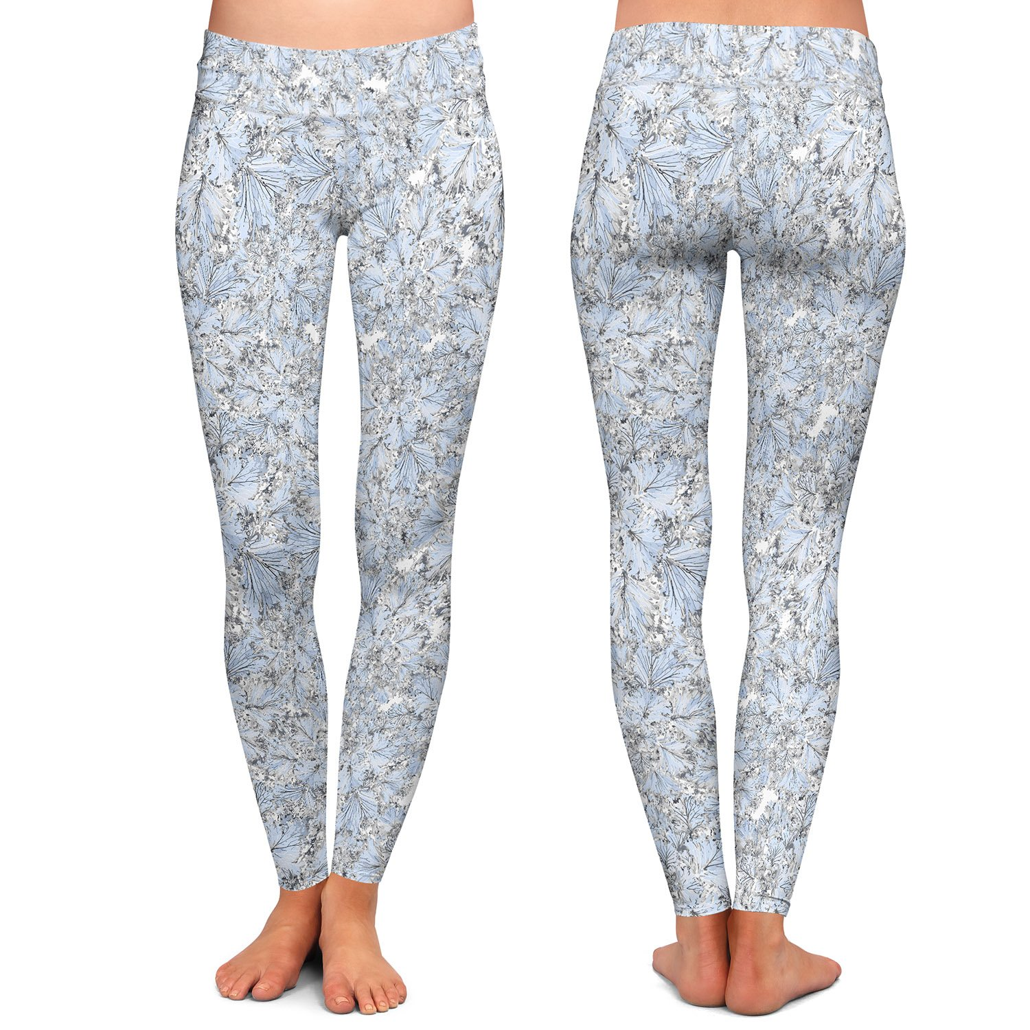 Blue Flowers Athletic Yoga Leggings from DiaNoche Designs by Julia Grifol