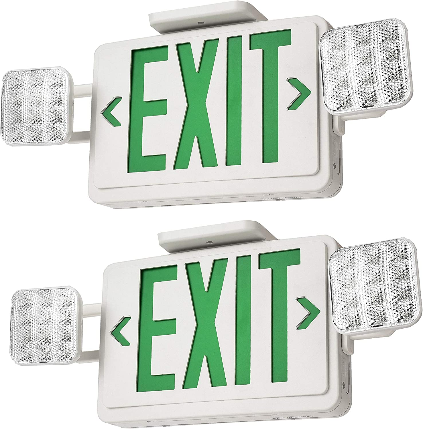(2-Pack) Dependable Direct Green LED Exit Sign with Emergency Lights Combo with Battery Backup - UL Certified, Double Sided, Commercial Grade for Schools, Apartments, Offices, Hotels