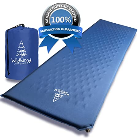 Wildwood Camping Pad Premium Inflatable Sleeping Mat Comfy Insulation Sleep Foam Easy to Use Great for Man Women Outdoor Hiking Backpacking Blue