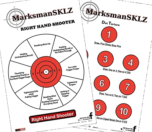 """MarksmanSKLZ Diagnostic and Training Pistol Shooting Targets (Pack of 20 + 5 Bonus Drill Targets)   High Visibility 11"""" X 17""""   Error Analysis and..."""