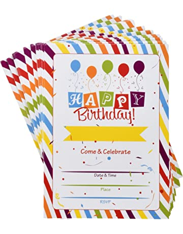 36 Happy Birthday Party Invitations With Envelopes Multicolor Confetti Rainbow Theme Fill In Card Invites