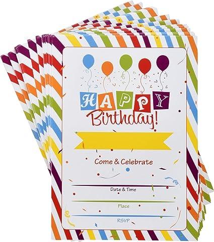 Amazon.com: 36 invitaciones de fiesta de cumpleaños con ...
