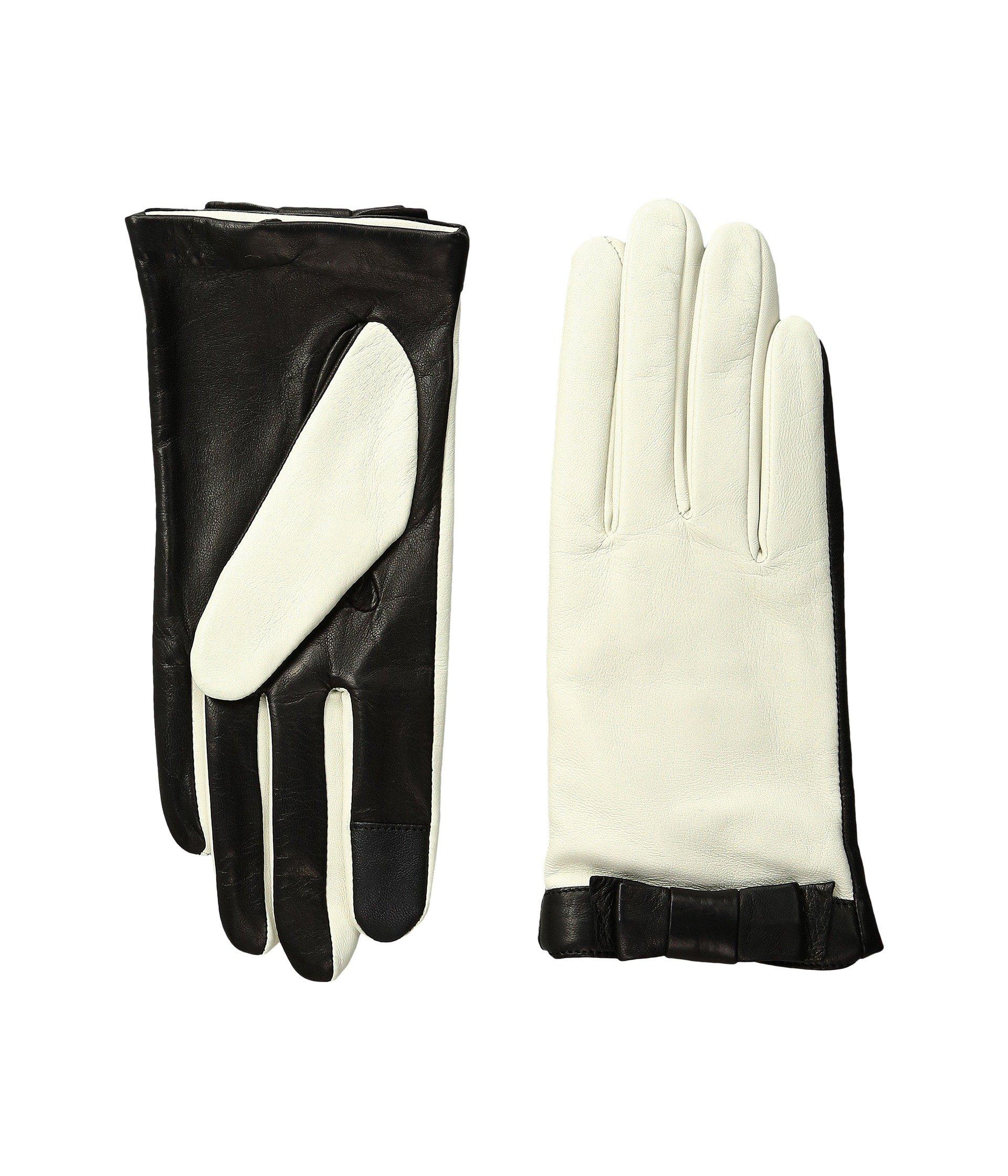 Kate Spade New York Women's Color Block Bow Short Gloves Light Shale/Black Gloves
