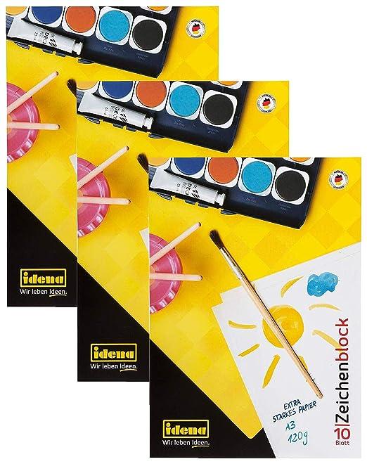 Idena - Bloc de Dibujo, 3er Pack DIN A3: Amazon.es: Hogar