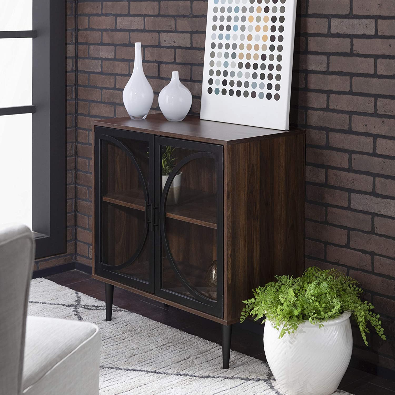 "WE Furniture AZF30LOLADW Accent Cabinet, 30"", Dark Walnut"