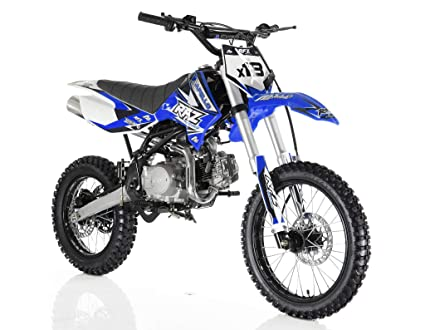 Apollo Original Dirt Bike X18 | 125CC RFZ Racing | Kick Start, 4 Speed  Gears Manual Transmission Clutch | Double Spare Frame | Big Tiers 17/14  (Blue)