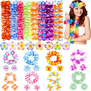 Giftinthebox Hawaiian Leis, Luau Party Favors,64Pcs Tropical Hawaiian Party Necklace,Hawaiian Plumeria Flower Hair Clip,Headbands and Wristbands, For Kids or Adults Party Supplies, Summer Beach Vacation, Theme Party Decorations, Birthday, Wedding