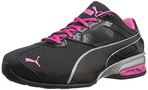 ecf59a42703 PUMA Women s Tazon 6 WN s FM Cross-Trainer Shoe Black Silver Beetroot  Purple