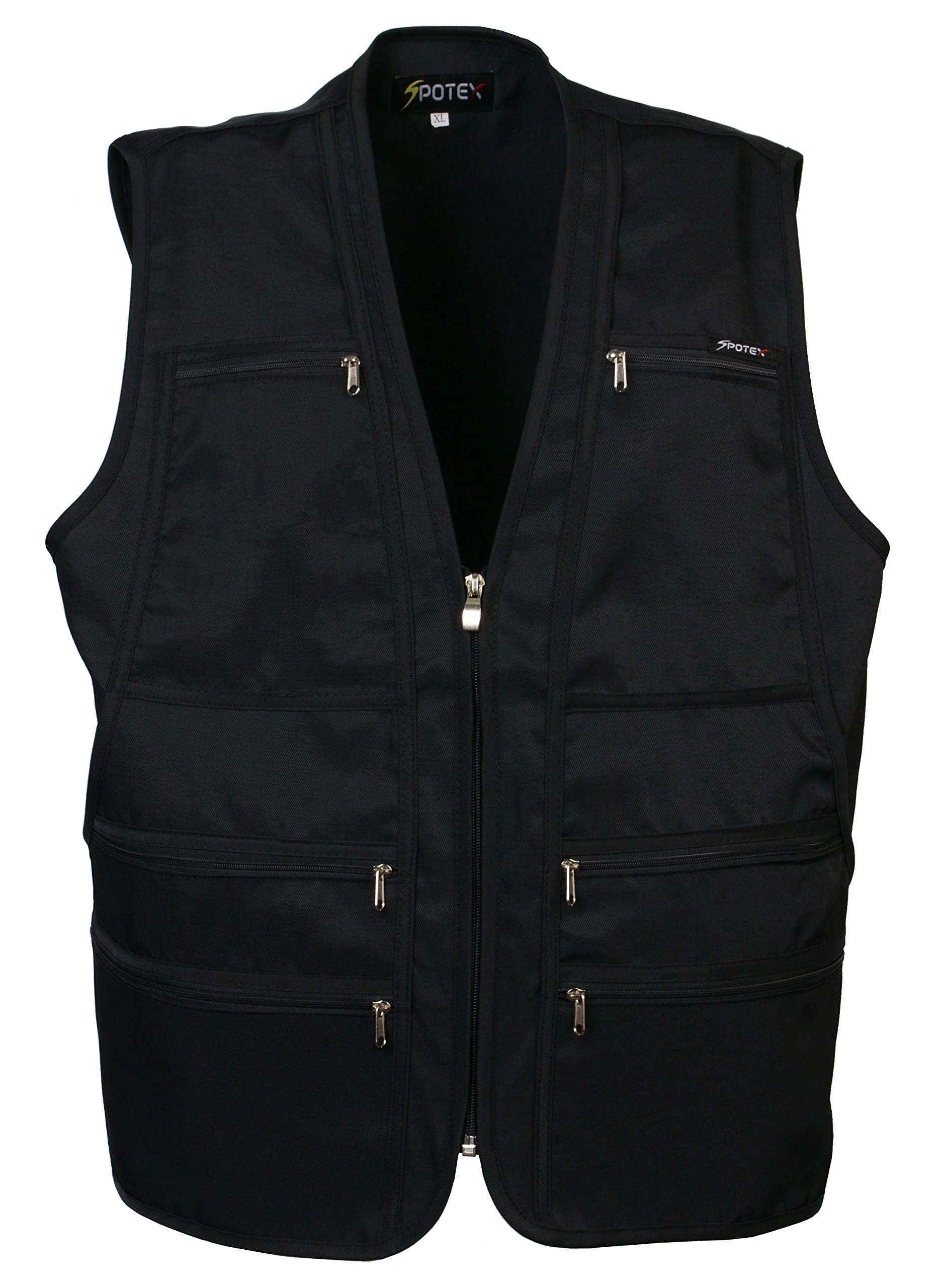 Men's 9 Pockets Work Utility Vest Military Photo Safari Travel Vest (2XL, Black)
