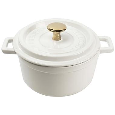 Madeira by Architec Cocotte Lidded Baking Dish, White Ceramic, 3.5 Quart