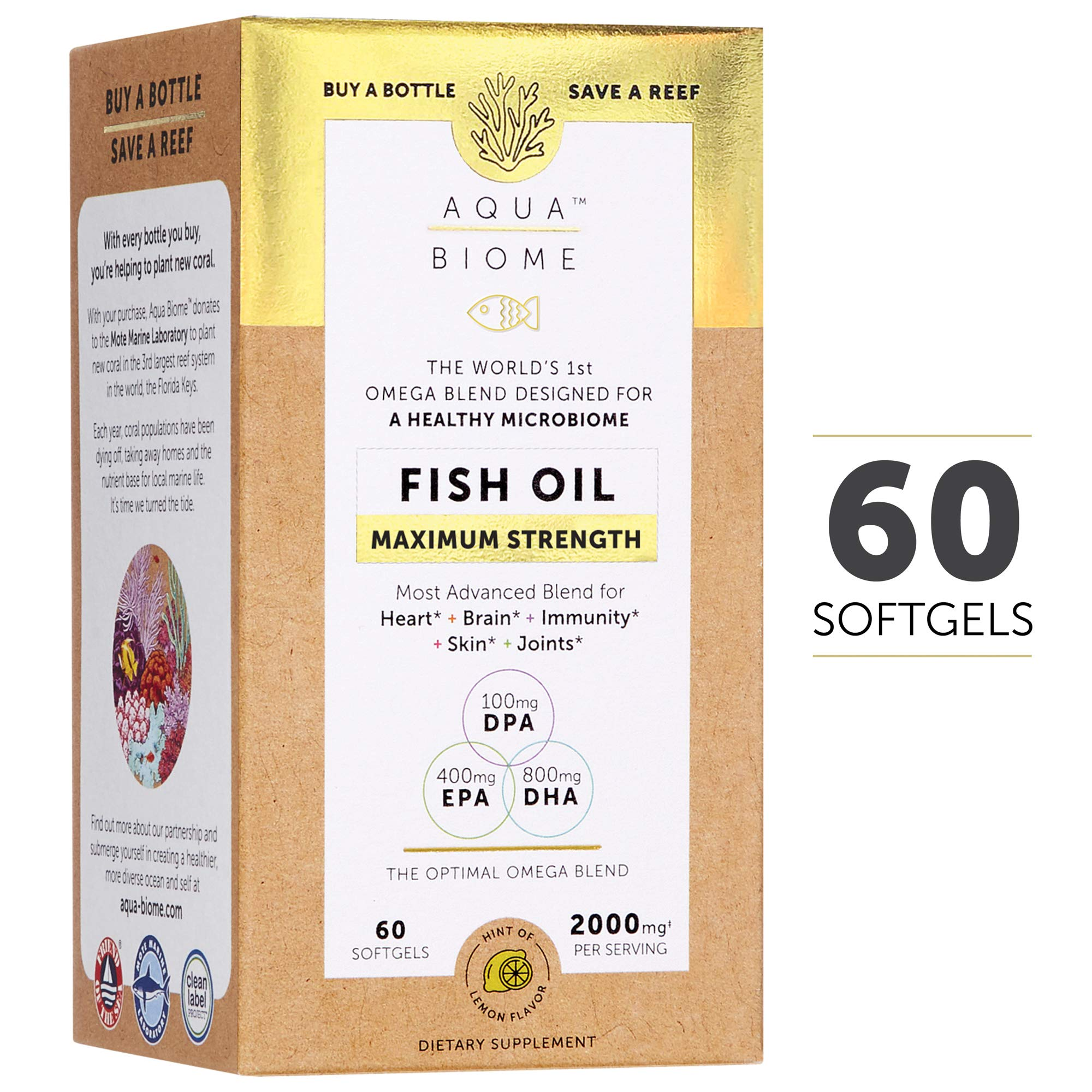 Aqua Biome by Enzymedica, Fish Oil Maximum Strength, Complete Omega 3 Supplement, DHA, EPA, DPA, Gluten Free & Non-GMO, 60 softgels (30 servings) by Enzymedica