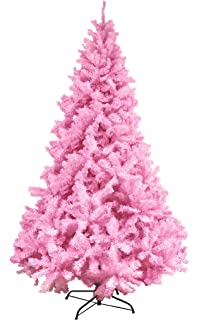 6ft 7ft 8ft 9ft pink coloured christmas trees xmas artificial bushy trees 180cm 270cm fireproof - Pink Christmas Tree Lights